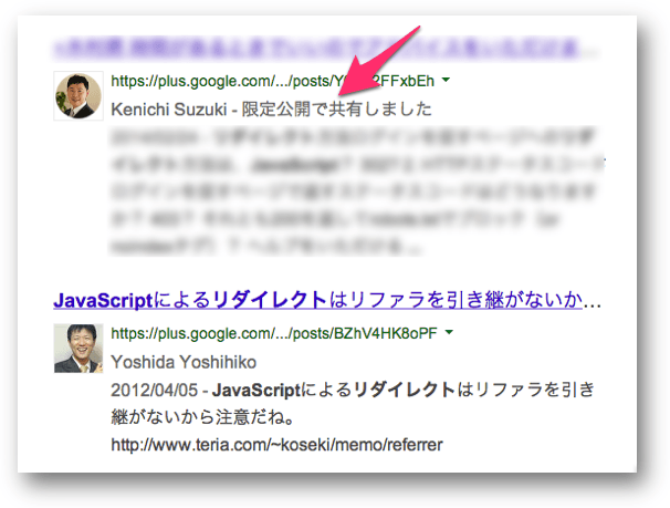 Search Plus Your Worldで表示された限定公開