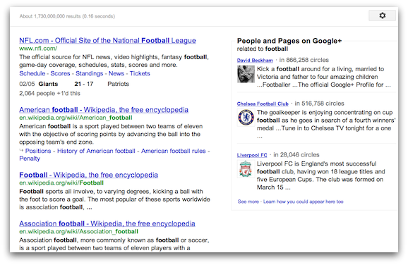 「football」で検索したSPYW (Search Plus Your World)