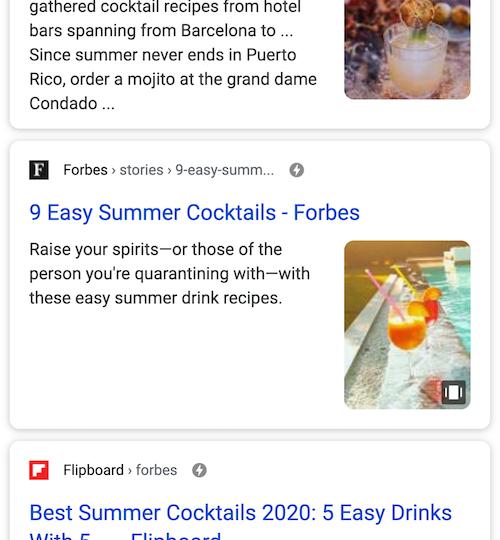 検索結果に出でくる Web Stories