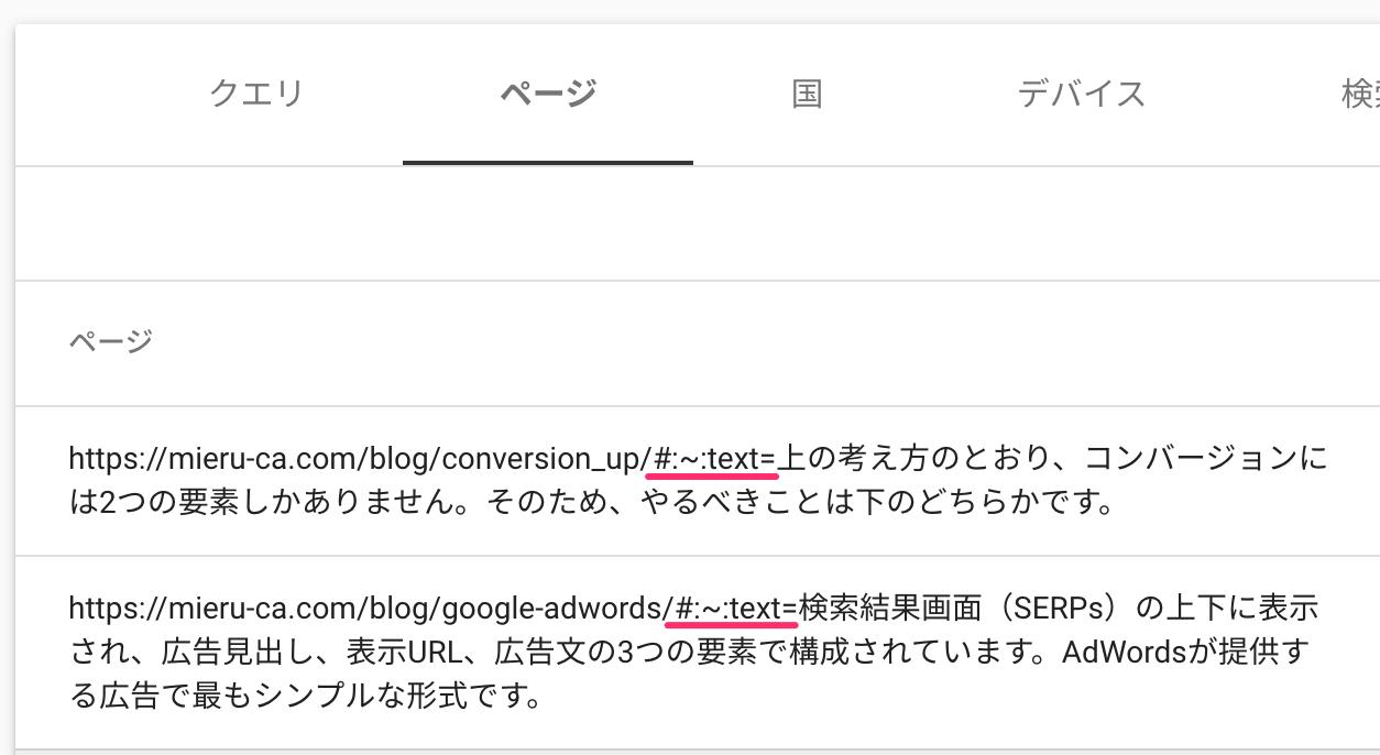 検索パフォーマンスレポートのテキスト フラグメント付き URL