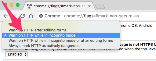 chrome://flags/#mark-non-secure-as
