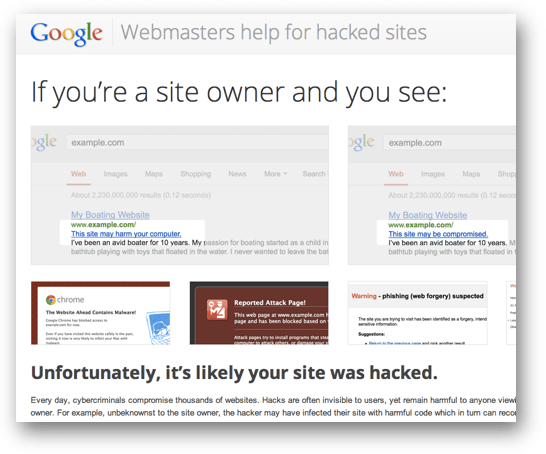 Webmasters help for hacked sitesのスクリーンショット