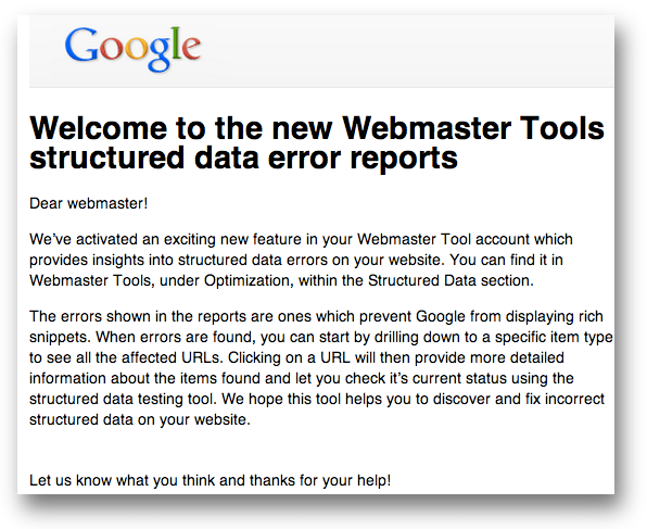「Welcome to the new Webmaster Tools structured data error reports」のメール