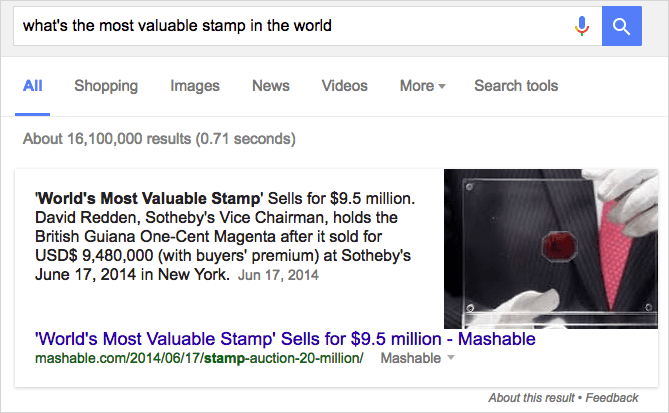 「what's the most valuable stamp in the world」の強調スニペット