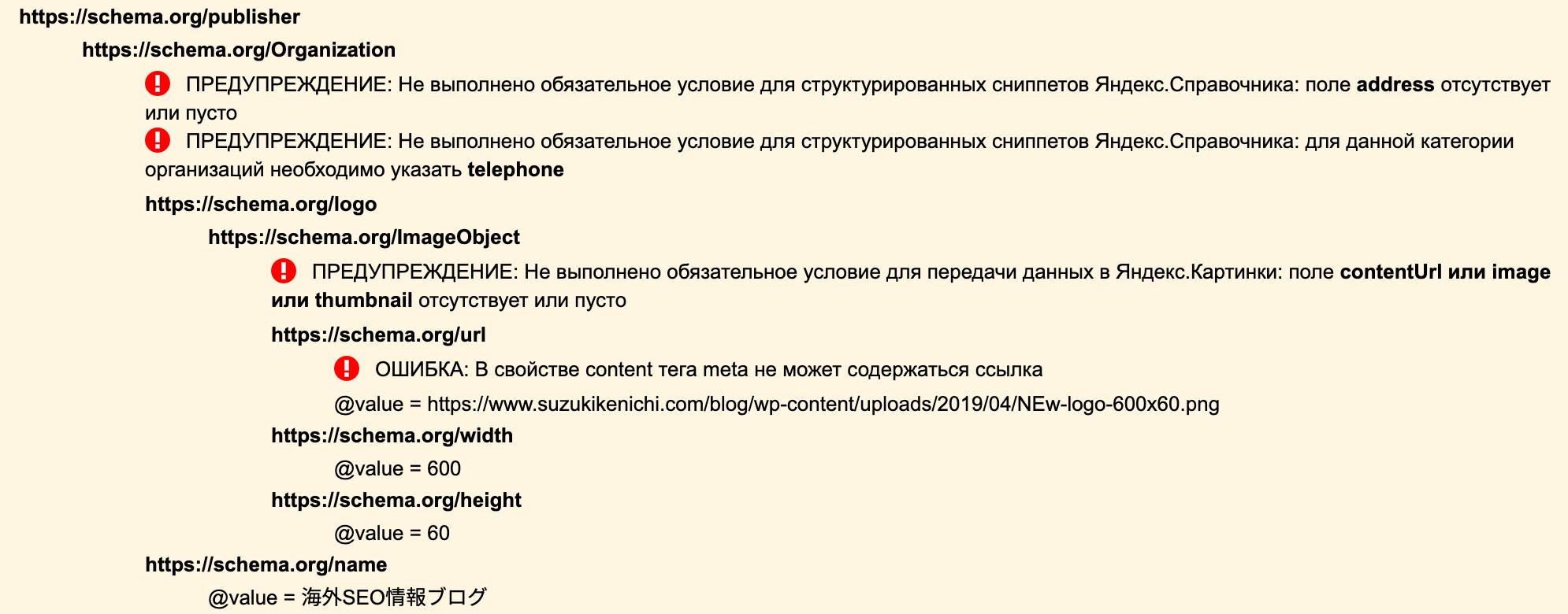 Yandex の Structured Data Validator